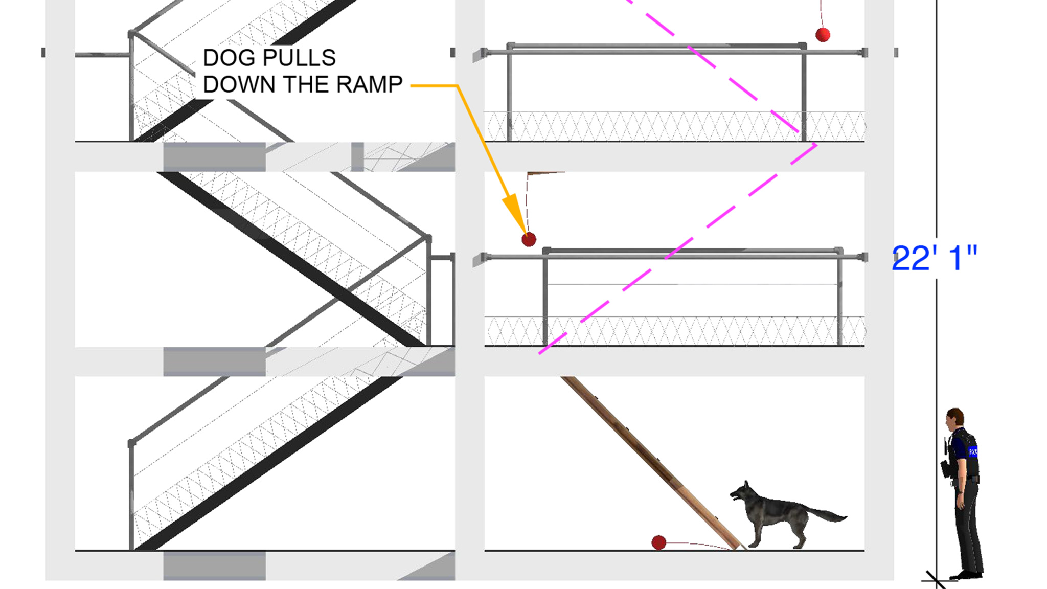 A diagram of the Fire Escape obstacle