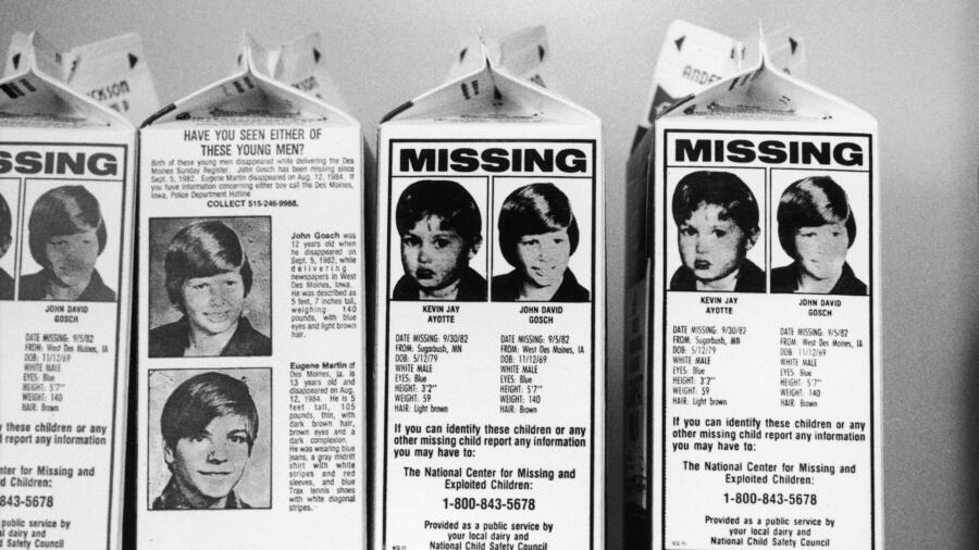 Milk cartons with missing children, including Johnny Gosch
