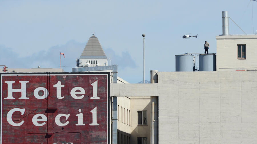 The roof of the Cecil Hotel where the body of Elisa Lam was found