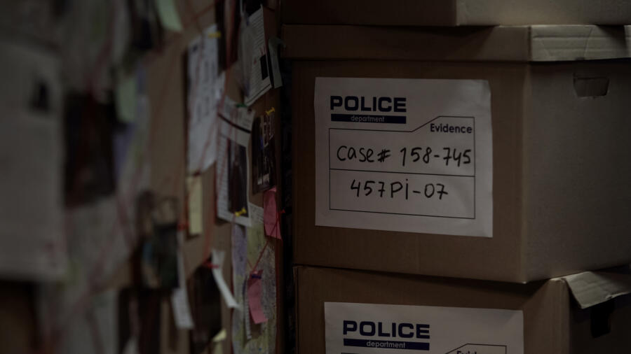 Boxes of evidence at a police station