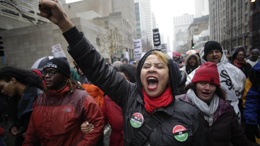 Demonstrators protesting the murder of Laquan McDonald in Chicago