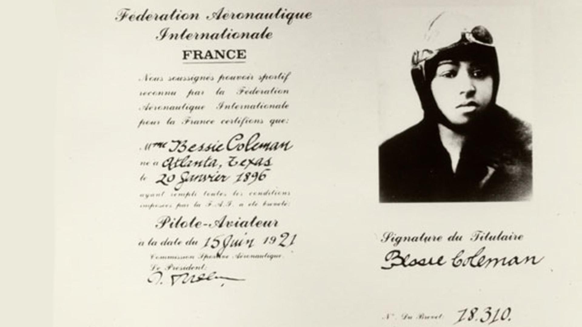 Bessie Coleman's Pilots License