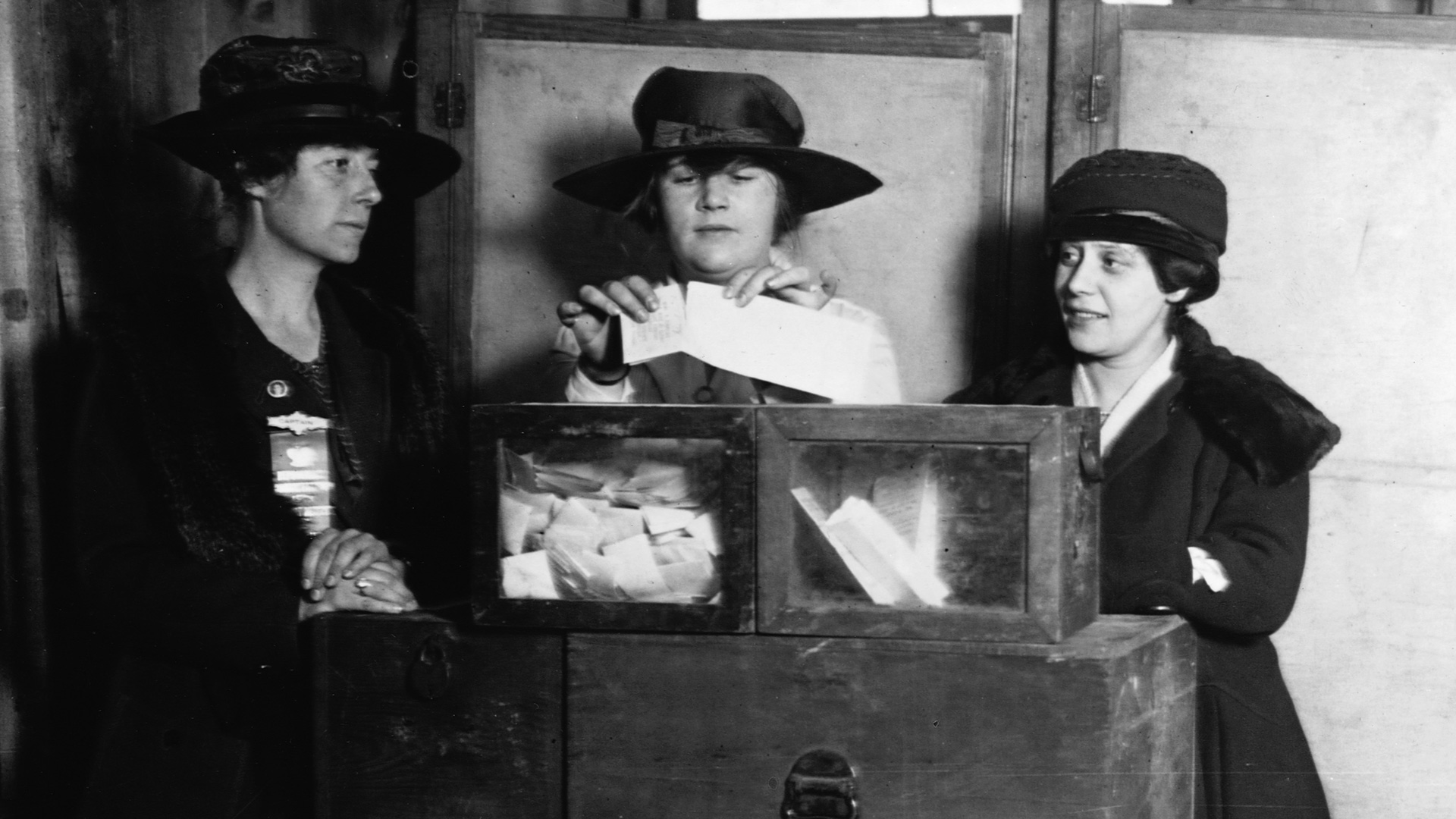 Three women vote at a polling station in New York City, New York, USA.