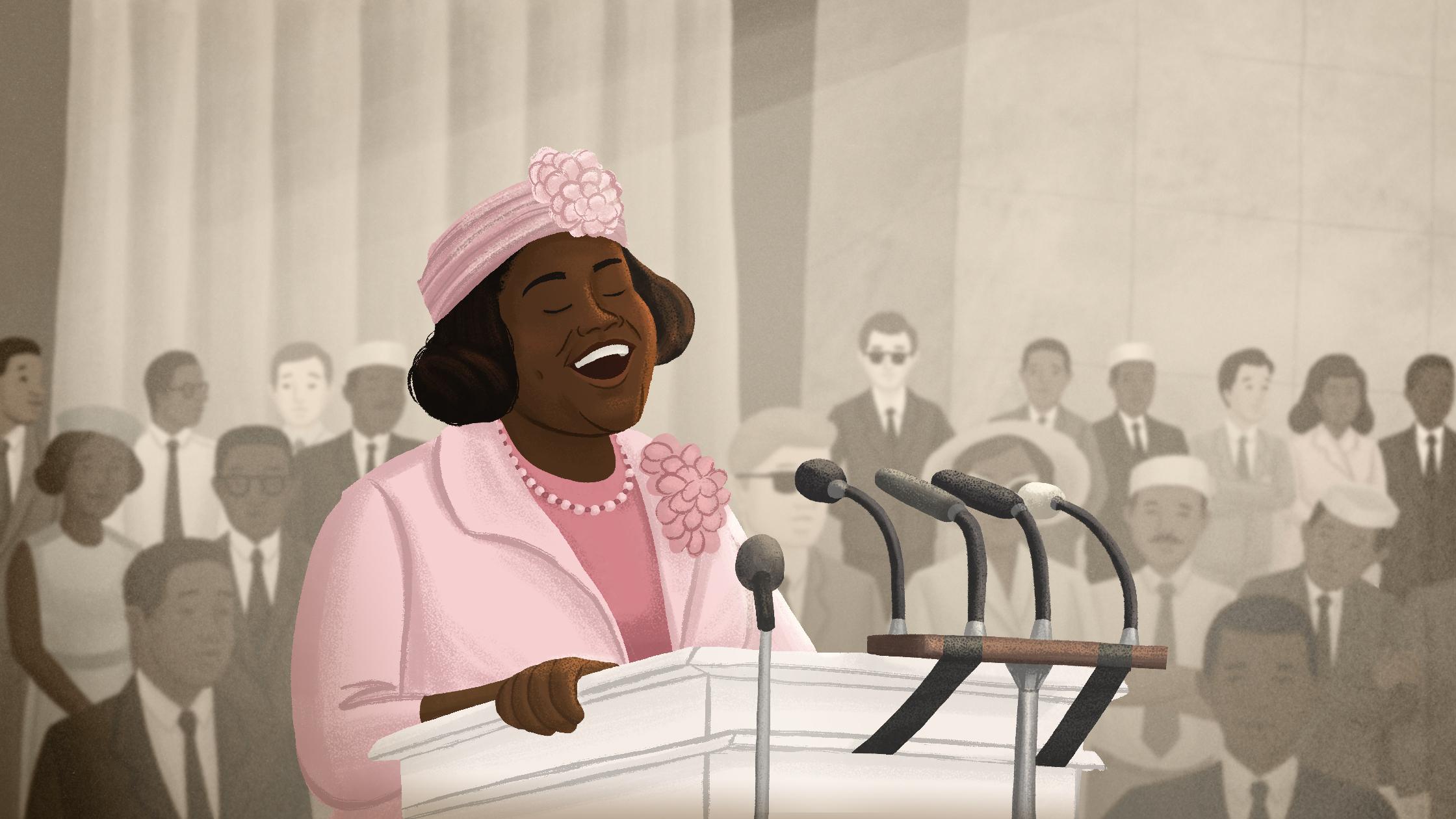 Black Woman At Podium Illustration