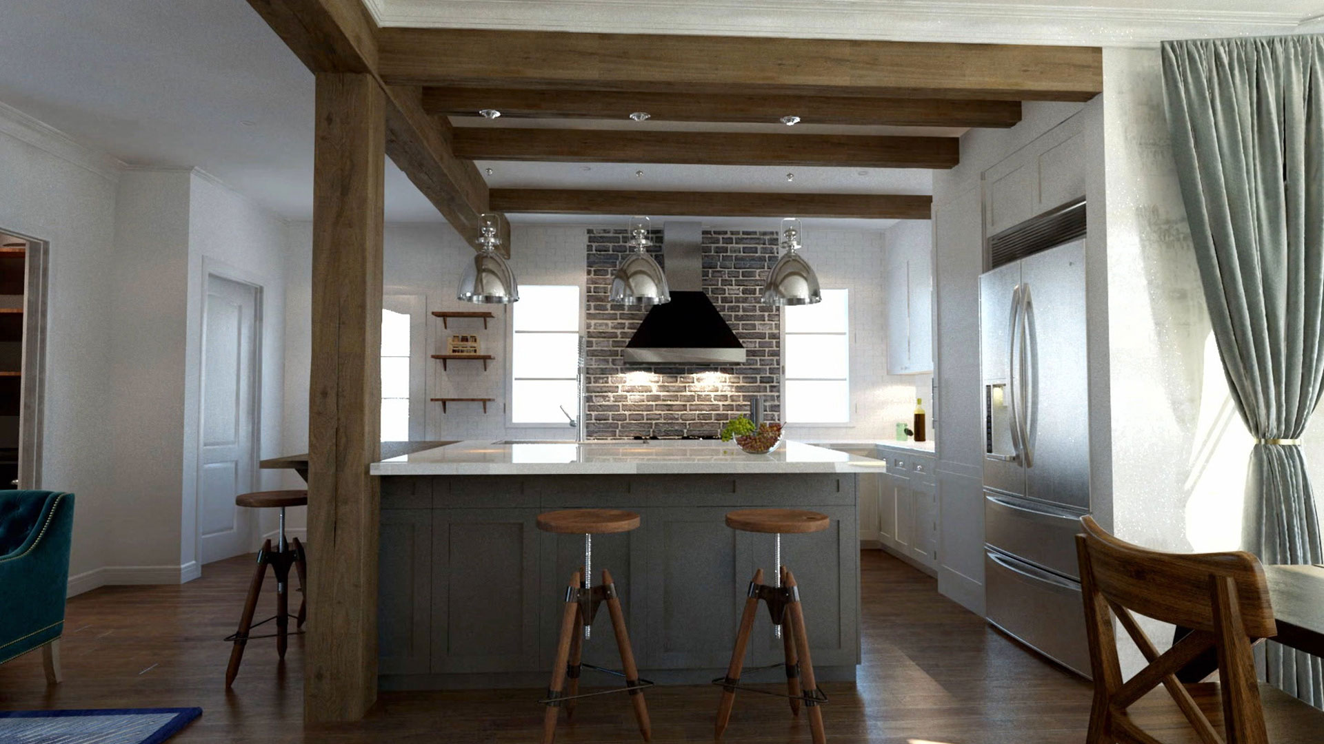 Majestic Folk Victorian gets American Style Mega-Kitchen