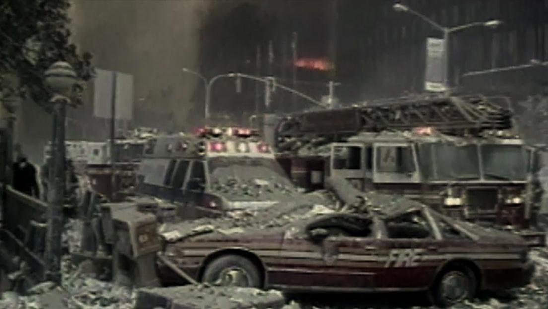 Destruction from the 9/11 attack on the New York Twin Towers