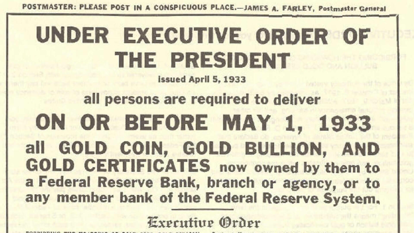 Fdr Takes United States Off Gold